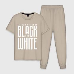 Пижама хлопковая мужская Juventus: Black & White цвета миндальный — фото 1