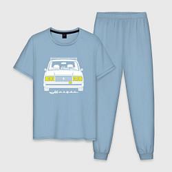 Пижама хлопковая мужская Жигули 2107 цвета мягкое небо — фото 1