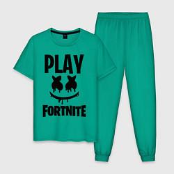 Пижама хлопковая мужская Marshmello: Play Fortnite цвета зеленый — фото 1