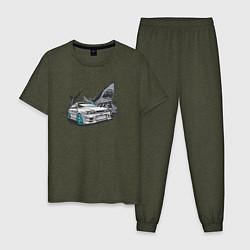 Пижама хлопковая мужская Toyota Chaser 100 цвета меланж-хаки — фото 1