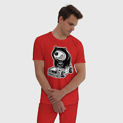Пижама хлопковая мужская Медведь на жигулях цвета красный — фото 2