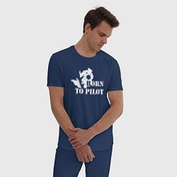 Пижама хлопковая мужская Born to pilot цвета тёмно-синий — фото 2