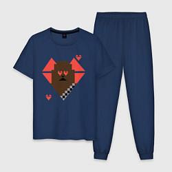 Пижама хлопковая мужская Chewie: Pixel Love цвета тёмно-синий — фото 1