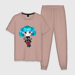 Пижама хлопковая мужская Sally Face: Kid Girl цвета пыльно-розовый — фото 1