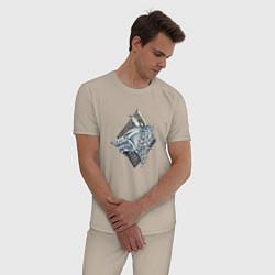 Пижама хлопковая мужская Space Wolves цвета миндальный — фото 2
