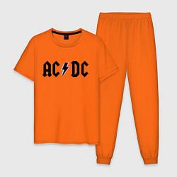 Пижама хлопковая мужская AC/DC цвета оранжевый — фото 1
