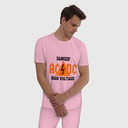 Пижама хлопковая мужская AC/DC: High Voltage цвета светло-розовый — фото 2