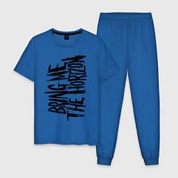 Пижама хлопковая мужская Bring me the horizon цвета синий — фото 1