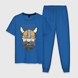 Пижама хлопковая мужская Born to be a Viking цвета синий — фото 1