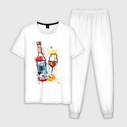Пижама хлопковая мужская Винишко цвета белый — фото 1