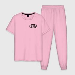 Пижама хлопковая мужская KIA цвета светло-розовый — фото 1