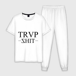 Пижама хлопковая мужская Trap Shit цвета белый — фото 1