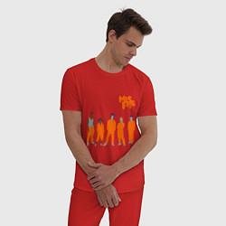 Пижама хлопковая мужская Misfits Orange цвета красный — фото 2