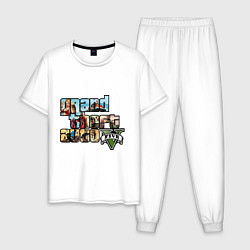 Пижама хлопковая мужская GTA 5 Stories цвета белый — фото 1