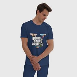 Пижама хлопковая мужская GTA V: City цвета тёмно-синий — фото 2