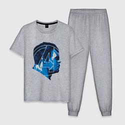 Пижама хлопковая мужская Hulk: Avengers цвета меланж — фото 1
