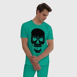 Пижама хлопковая мужская Злобный череп цвета зеленый — фото 2