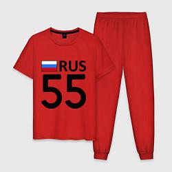 Пижама хлопковая мужская RUS 55 цвета красный — фото 1