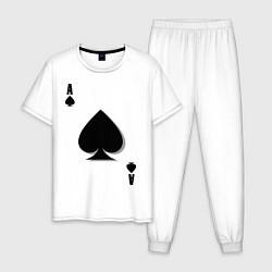 Пижама хлопковая мужская Пиковый туз цвета белый — фото 1