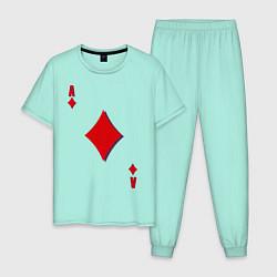 Пижама хлопковая мужская Бубновый туз цвета мятный — фото 1