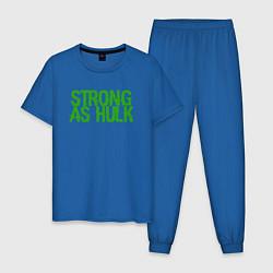 Пижама хлопковая мужская Strong as Hulk цвета синий — фото 1