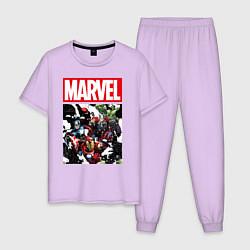 Пижама хлопковая мужская Avengers: Marvel Heroes цвета лаванда — фото 1