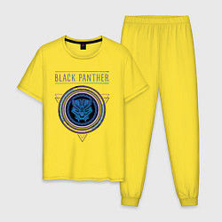 Пижама хлопковая мужская Черная пантера цвета желтый — фото 1