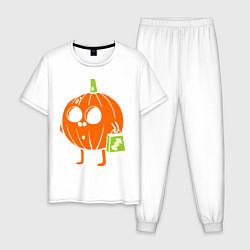 Пижама хлопковая мужская Тыква с пакетом цвета белый — фото 1