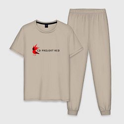 Пижама хлопковая мужская CD RPOJECT RED цвета миндальный — фото 1