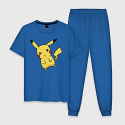 Пижама хлопковая мужская Непонимающий Пикачу цвета синий — фото 1