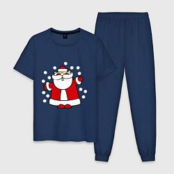 Пижама хлопковая мужская Дед мороз в снегу цвета тёмно-синий — фото 1