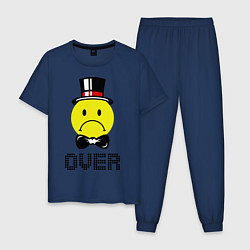 Пижама хлопковая мужская Game over (парная-мужская) цвета тёмно-синий — фото 1