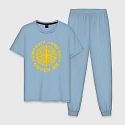 Пижама хлопковая мужская 21 Pilots: Jumpsuit Cover Me цвета мягкое небо — фото 1