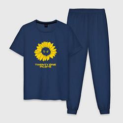 Пижама хлопковая мужская 21 Pilots: Sunflower цвета тёмно-синий — фото 1