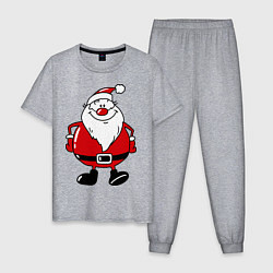 Пижама хлопковая мужская Дедушка мороз цвета меланж — фото 1