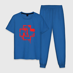 Пижама хлопковая мужская Rammstein Logo цвета синий — фото 1