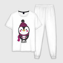 Пижама хлопковая мужская Пингвин в валенках цвета белый — фото 1