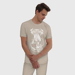 Пижама хлопковая мужская Ghostemane цвета миндальный — фото 2