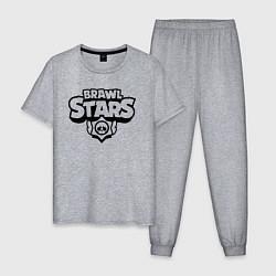 Пижама хлопковая мужская BRAWL STARS цвета меланж — фото 1