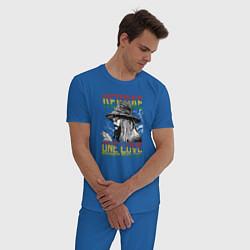 Пижама хлопковая мужская Регги цвета синий — фото 2