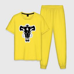 Пижама хлопковая мужская ЧЁРНЫЙ КЛЕВЕР цвета желтый — фото 1