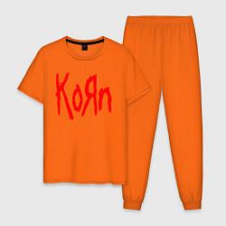 Пижама хлопковая мужская KORN цвета оранжевый — фото 1