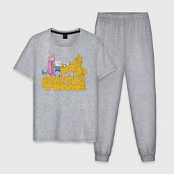 Пижама хлопковая мужская Adventure time цвета меланж — фото 1