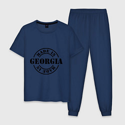 Пижама хлопковая мужская Made in Georgia (сделано в Грузии) цвета тёмно-синий — фото 1