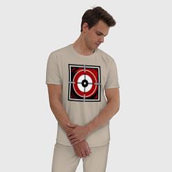 Пижама хлопковая мужская R6S GLAZ цвета миндальный — фото 2