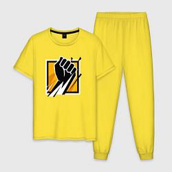 Пижама хлопковая мужская R6S FINKA цвета желтый — фото 1