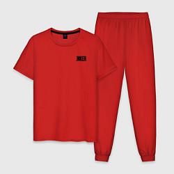 Пижама хлопковая мужская Card suits цвета красный — фото 1
