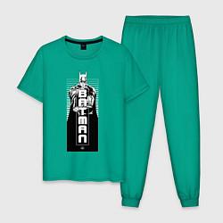 Пижама хлопковая мужская Бэтман цвета зеленый — фото 1