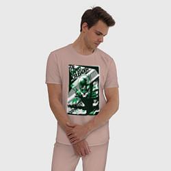 Пижама хлопковая мужская Caped Crusader цвета пыльно-розовый — фото 2