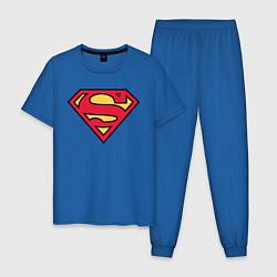 Пижама хлопковая мужская Superman logo цвета синий — фото 1